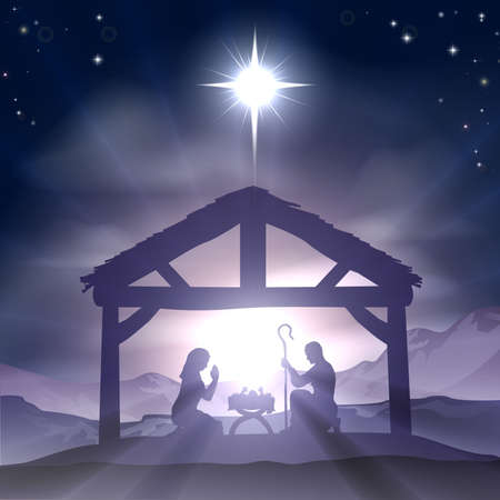 religious christmas: Christmas Christian nativity scene with baby Jesus in the manger in silhouette, and star of Bethlehem