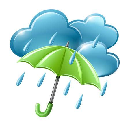 parapluie: pluies icône météo avec des nuages ??et parapluie illustration isolé sur fond blanc. Les objets transparents utilisés pour ombres et de lumières dessin.