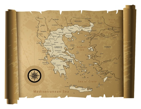 greece silhouette: Old paper Greece map