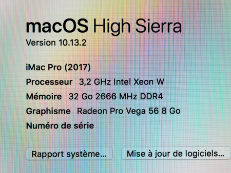 STRASBOURG  FRANCE   JAN 11  2018  New IMac Pro The All in one      93182215   STRASBOURG  FRANCE   JAN 11  2018  Macro shot of About this Mac  information of the new powerful Apple iMac Pro workstation featuring Intel  Xeon