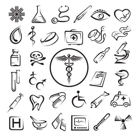 medicine symbols: medical icons set