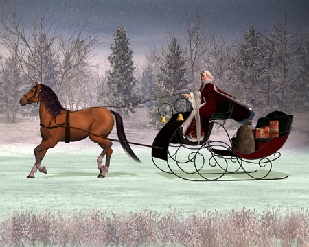 Ilration Of A Traditional Father Christmas In Horse Drawn Sleigh Digitally Rendered