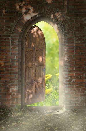 open door outside: Door to new world The door to paradise