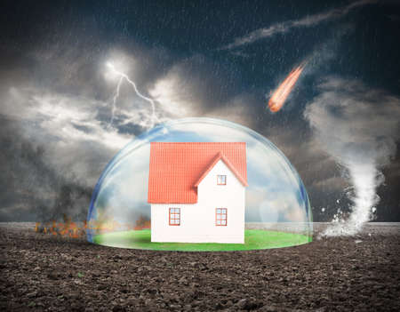 home: Concept of home protection insurance with crystal sphere