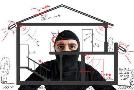 spy: Thief apartment studying security system of a new house Stock Photo