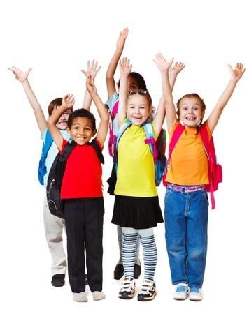 studenti: I bambini con le mani in alto, isolato