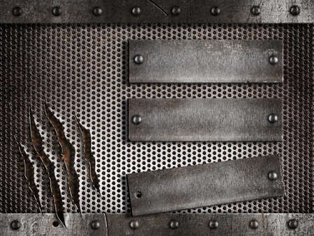three rusty plates over metal holed or perforated grid background Stock Photo - 11561302