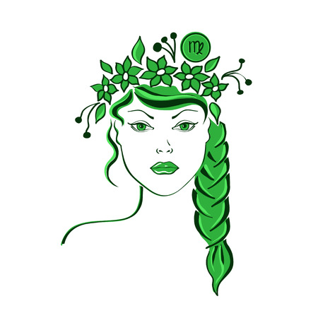 Zodiac sign of Virgo stylized with beautiful girl portrait Stock Vector - 27528837