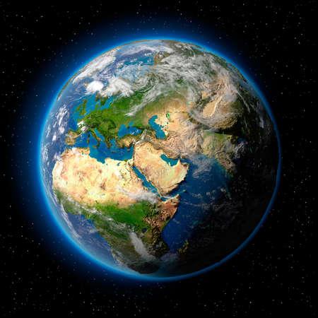 earth+globe%3A+Planeet+aarde+met+doorzichtige+water+van+de+oceanen%2C+sfeer%2C+volumetrische+wolken+en+gedetailleerde+topografie+in+de+ruimte
