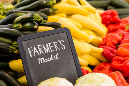 Fresh organic produce on sale at the local farmers market. Stock Photo - 30139386