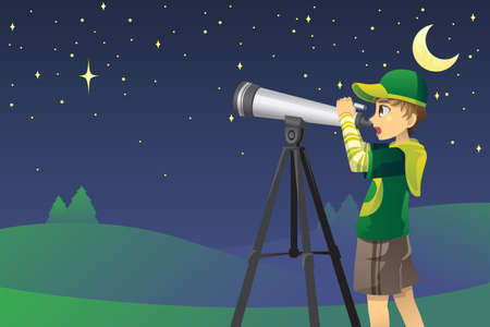 A vector illustration of a young boy looking at stars in the sky using a telescope Stock Vector - 11973405