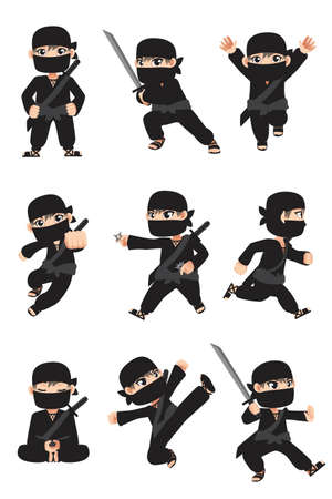 ninja: A vector illustration of different poses of a kid ninja Illustration