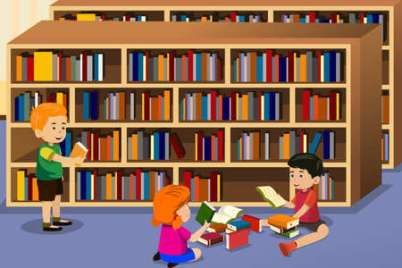 This image shows a clipart picture of a library with kids who are reading different kinds of books.