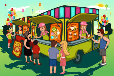 A vector illustration of people in food truck festival Stock Vector - 37436401