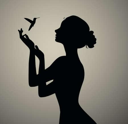 silhouette noire de l'observation fille d'oiseaux Banque d'images - 50999671