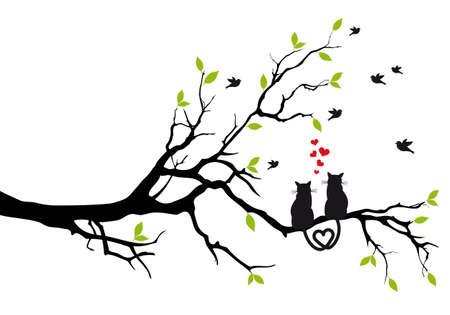 cats in love on tree branch with birds illustration Stock Photo - 16099811