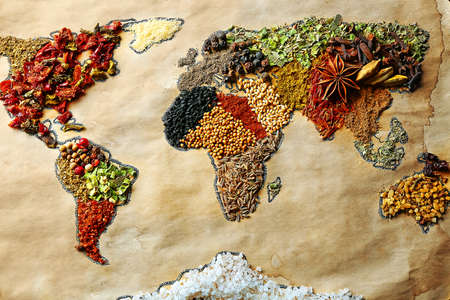 world foods: Map of world made from different kinds of spices, close-up