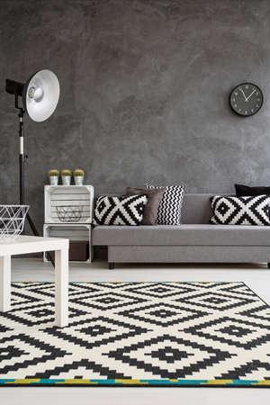 decor moderne de salon avec murs gris et tapis noir et blanc sur parquet