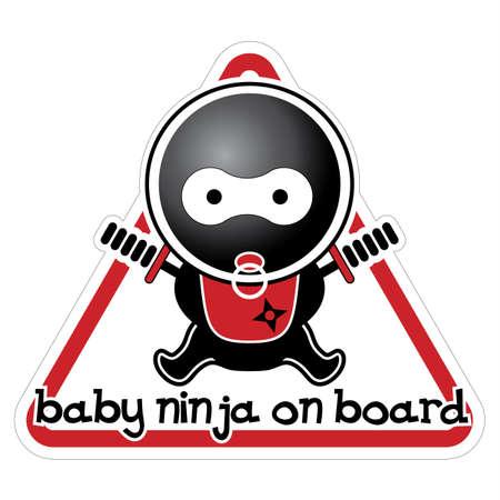 ninja baby: Baby Ninja on Board Illustration