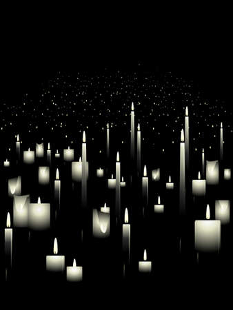 memorials: White candle background Illustration