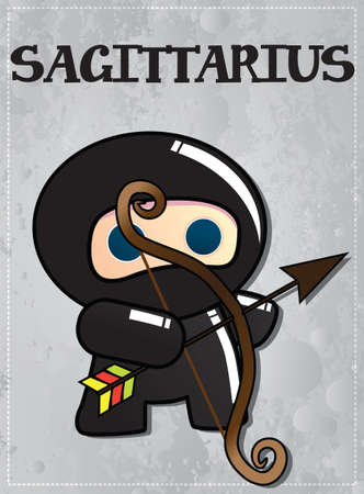 Zodiac sign Sagittarius with cute black ninja character, vector Stock Vector - 24196817