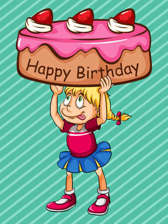 Happy Birthday card with girl and cake Stock Vector - 42298588