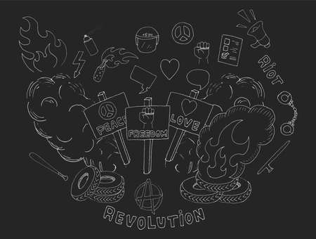 crowd riot icons: Doodle sketch art. Protest symbols: flames, heart, anarchy, peace, fist, vote, speakerphone, smoke, banners, tires, shackles, baton, baseball bat, police helmet, freedom, revolution, riot. Chalk