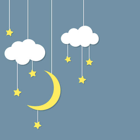 Night background with new moon, stars and clouds hanging Stock Vector - 28033061