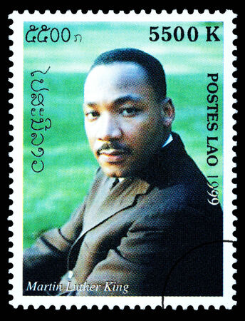 martin luther king: LAOS - CIRCA 1999: A postage stamp printed in Laos showing Martin Luther King, circa 1999