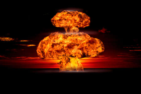 explosion: Nuclear explosion in an outdoor setting. Symbol of environmental protection and the dangers of nuclear energy