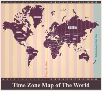 World Map With Standard Time Zones Royalty Free Cliparts  Vectors     Vector   World Map with Standard Time Zones