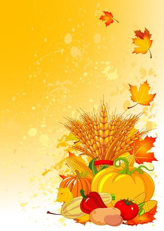Harvesting design with plump pumpkins, wheat, vegetables and autumn leaves Stock Vector - 11119929