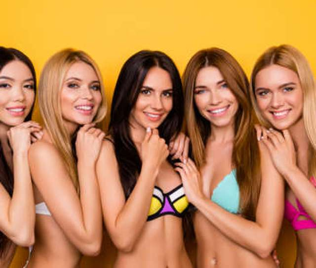 Multicultural Colorful Beauty Group Of Five Young Playful Coquettes In Swim Suits All So