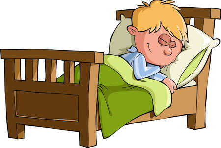 The boy was asleep in bed, vector Stock Vector - 12356573