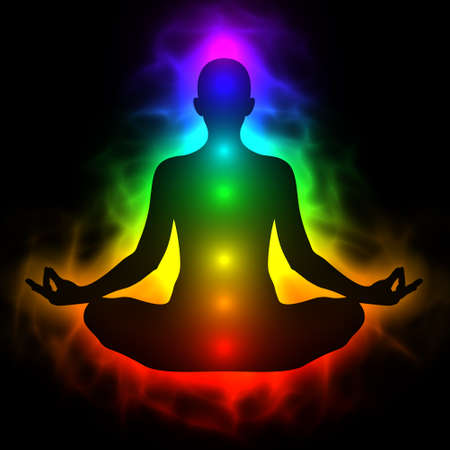 Illustration of human energy body, aura, chakra in meditation Stock Illustration - 30946151