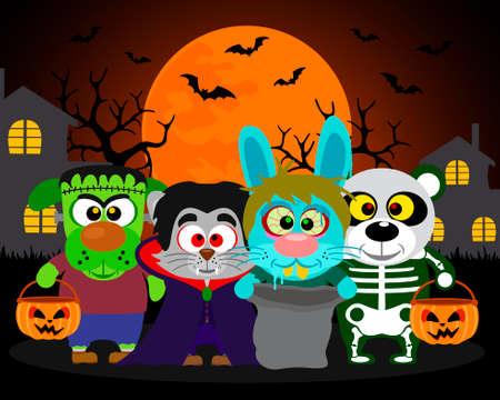 Halloween background trick or treat animals in Halloween costume Stock Vector - 31870703