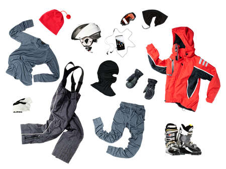 warm clothing gloves: The set of all necessary child skier clothes