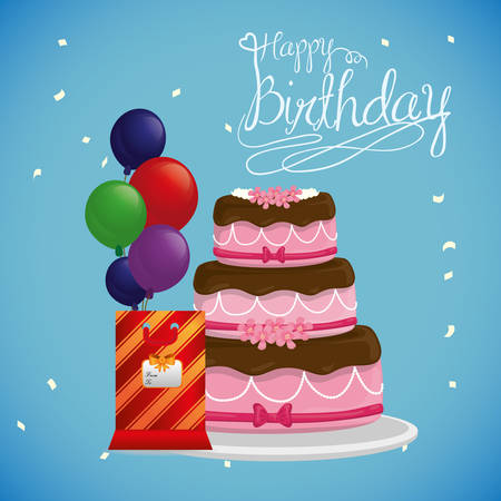Happy Birthday concept with cake design, vector illustration 10 eps graphic. Stock Vector - 46126984