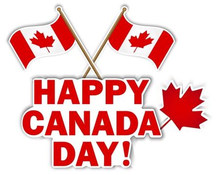 Canada Day stickers with maple leaf and flags illustration  Stock Vector - 14169671