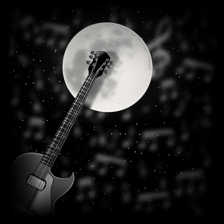 vector illustration-Guitar the background of the moon Stock Vector - 39528964
