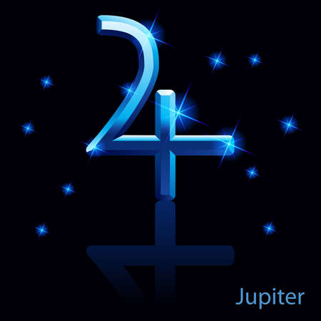 Shiny blue Jupiter sign on black . Stock Vector - 24012009