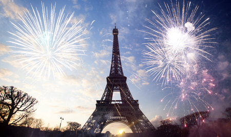 Abstract Background Of Eiffel Tower With Fireworks  Paris  France     Abstract background of Eiffel tower with fireworks  Paris  France   New Year  Stock Photo