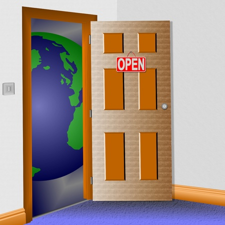 An illustration of a room with an open door and the world in front of it. Stock Illustration - 9353164