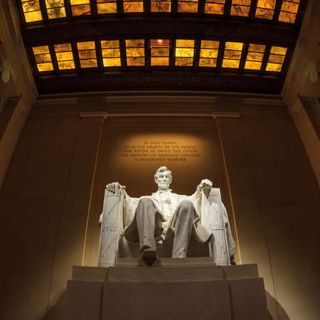 assassinated usa presidents: Lincoln Memorial statue at night, Washington, DC Editorial