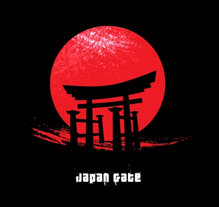 japan silhouette: Japan Gate Illustration