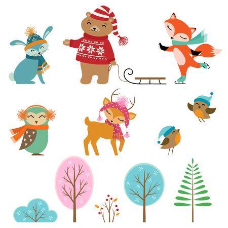 Ensemble des animaux et des arbres d'hiver mignon pour votre conception. Banque d'images - 24638011