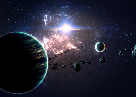 Planets over the nebulae in space.  Stock Photo - 44449974