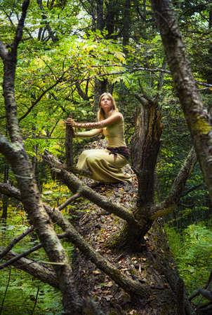 Jeune fille blonde dans une forêt magique Banque d'images - 12609894