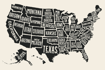 Poster Map Of United States Of America With State Names  Black     Poster map of United States of America with state names  Black and white  print map