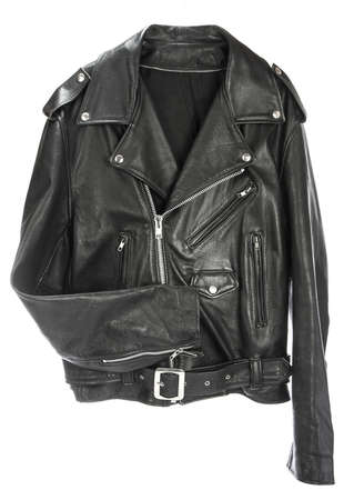 motorcycle leather jackets: Vintage Leather biker jacket isolated on white Stock Photo